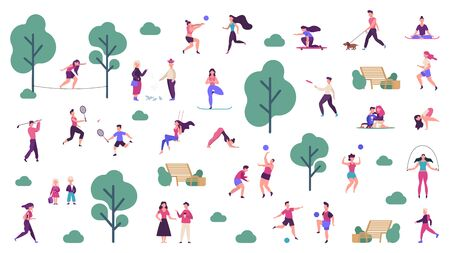 Illustration pour Active outdoor lifestyle. People healthy lifestyle and park sport activities, outdoor games, jogging and running vector illustration icons set. Outdoor boy training, skateboarding and playing - image libre de droit
