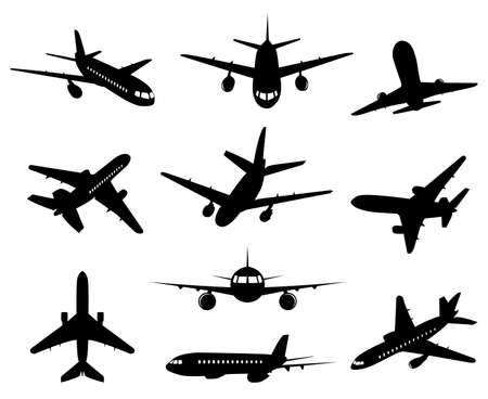 Illustration for Airplane silhouette. Passenger plane, back front and bottom views, aircraft jet silhouettes isolated vector illustration icons set. Jet monochrome, plane and airplane, commercial passenger flight - Royalty Free Image
