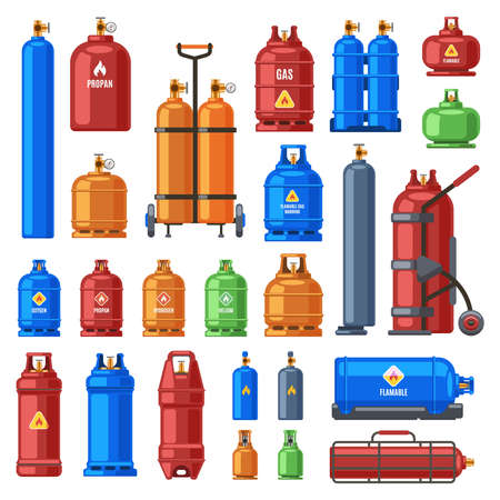 Illustration pour Gas cylinders. Propane, oxygen and butane metal containers, cylindrical helium tank, fuel storage gas bottle vector illustration icons set. Compressed gases with high pressure in equipment - image libre de droit