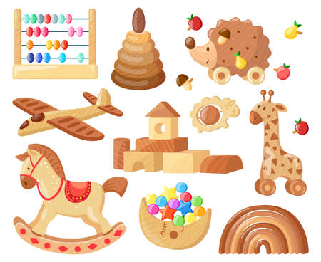 Illustration pour Cartoon wooden toys. Kids vintage wooden toys for child games and entertainment, wooden plane, horse and bricks isolated vector illustration set. Educational tools, rainbow and aircraft - image libre de droit