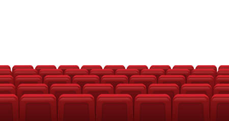 Illustration pour Movie theatre red seats. Empty rows of red cinema theatre seats, movie theatre interior. Cinema movie premiere event vector illustration. Hall for watching films or plays with armchairs - image libre de droit