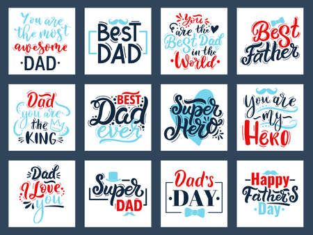 Illustration pour Fathers day calligraphy quotes. Hand drawn fathers day quote cards, best dad lettering vector illustration set. Happy fathers day calligraphy phrases - image libre de droit