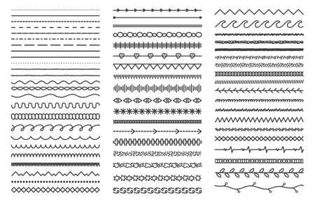 Illustration pour Hand drawn doodle dividers. Abstract doodle lines, decorative pencil strokes. Outline sketched dividers vector illustration set - image libre de droit