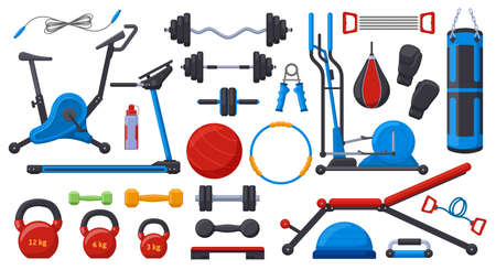 Illustration pour Gym fitness equipment. Sport training weights, dumbbell, barbell, gym ball, treadmill and exercise bike vector illustration set. Fitness sport equipment - image libre de droit