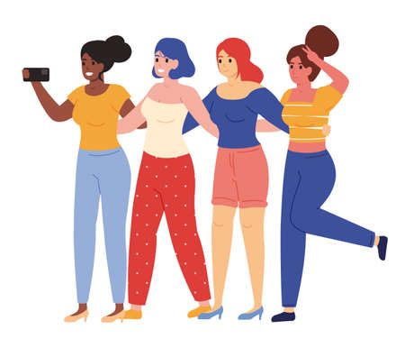 Illustration for Female friends taking selfie. Happy young girlfriends posing for group selfie vector illustration. Female friendship concept - Royalty Free Image