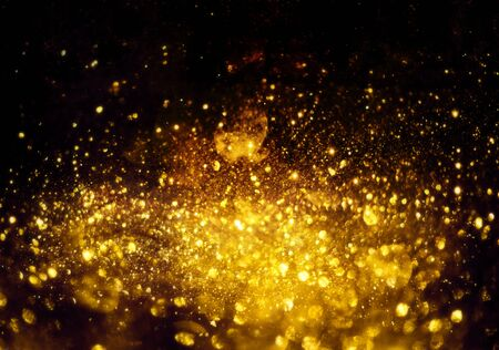 Photo pour golden glitter bokeh lighting texture Blurred abstract background for birthday, anniversary, wedding, new year eve or Christmas. - image libre de droit