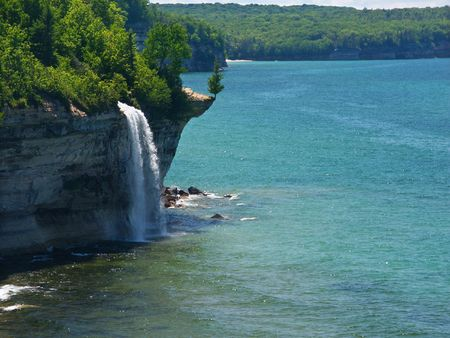 Spray Falls plunges into Lake Superior at Pictured Rocks National Lakeshore, Michigan