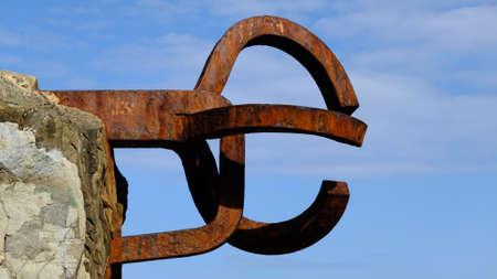 Photo for A closeup shot of the sculpture Peine de Los Vientos in San Sebastian, Spain - Royalty Free Image
