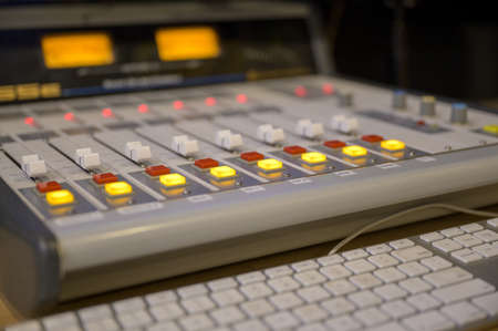Photo for A closeup shot of professional radio station equipment or control panel - Royalty Free Image