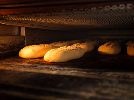 Photo pour A closeup of raw bread loaves in the oven under the lights - image libre de droit