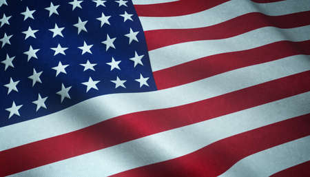 Photo pour A closeup shot of the waving flag of the United States of America with interesting textures - image libre de droit