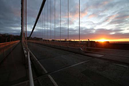 Photo pour A beautiful shot from inside of Clifton Down bridge during sunset in Bristol, UK - image libre de droit