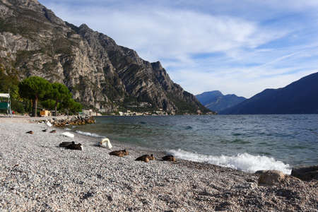 Foto per A landscape shot of parco dell'alto garda bresciano limone italy lakeshore with surrounded mountains, swan on the pebbled surface in a clear blue sky - Immagine Royalty Free