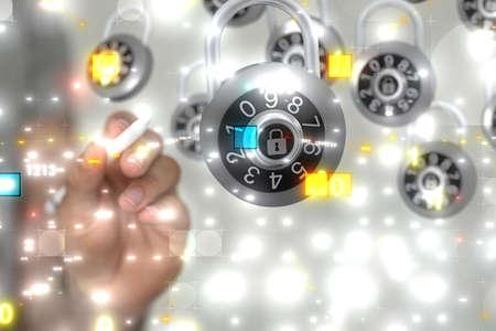 Photo pour A virtual projection of a cyber shield protection - image libre de droit