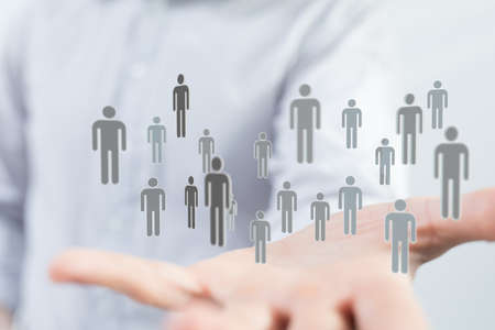 Photo pour abstract social network scheme, which contains business people - image libre de droit