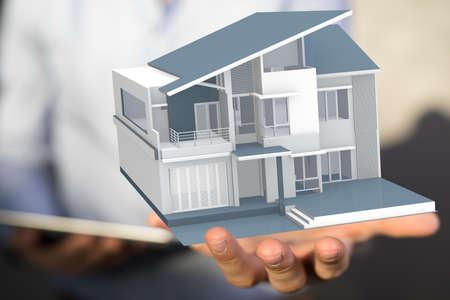 Photo pour House, Residential Structure, Human Hand. concept - image libre de droit