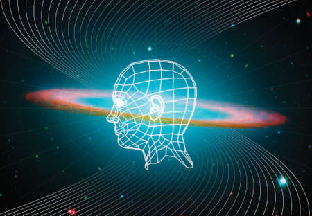 Photo pour The digital projection of a human head surrounded by sound waves on a cosmic background - image libre de droit
