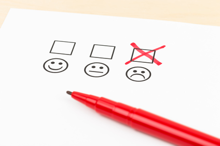 Photo pour Customer satisfaction survey checkbox with poor symbol tick - image libre de droit