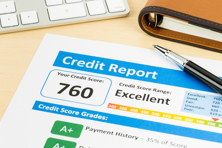 Photo for Credit score report with keyboard and pen - Royalty Free Image