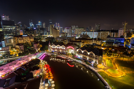 Photo for Singapore - December 1, 2016 : Clarke Quay is a historical riverside quay. Now, famous for dinner and night entertainment. - Royalty Free Image