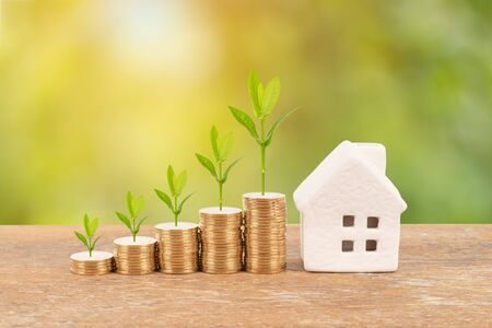 Photo for Model house and coin stack with tree on blur green background mortgage saving concept - Royalty Free Image