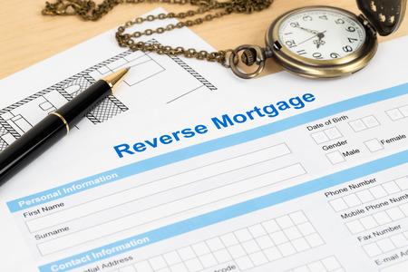 Photo pour Reverse mortgage application form, financial concept - image libre de droit