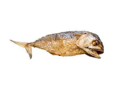 Photo pour One fried mackerel on a white background - image libre de droit