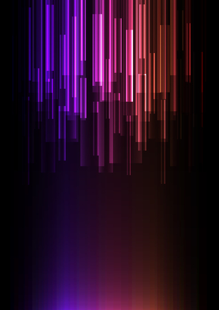 Illustration for purple orange overlap pixel speed in dark background, geometric layer motion backdrop, simple technology template, vector illustration - Royalty Free Image