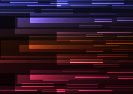Illustration for multicolor overlap pixel speed in dark background, geometric layer motion backdrop, simple technology template, vector illustration - Royalty Free Image