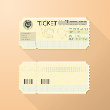 Illustration pour Retro Train Ticket Card Classic design - image libre de droit