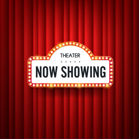 Illustration pour Now showing. text with electric bulbs frame on red background. Vector illustration. - image libre de droit