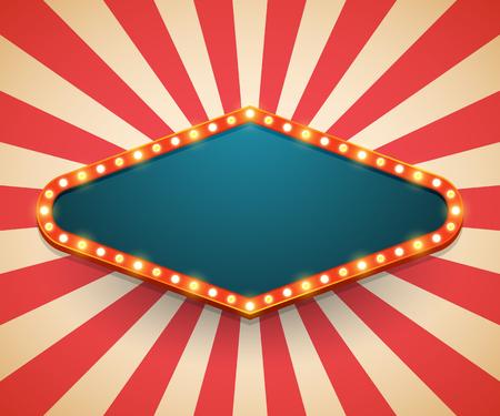 Illustration for Light frame shining retro billboard. Casino poster vintage style. Vector illustration - Royalty Free Image