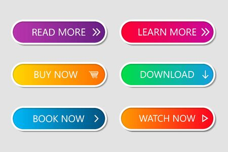 Illustration pour Set of modern web buttons. Navigation button menu with gradient on white forms with shadows. Web action elements for game, call, buy, learn, read and download. Trendy style. UI graphic for app. Vector - image libre de droit