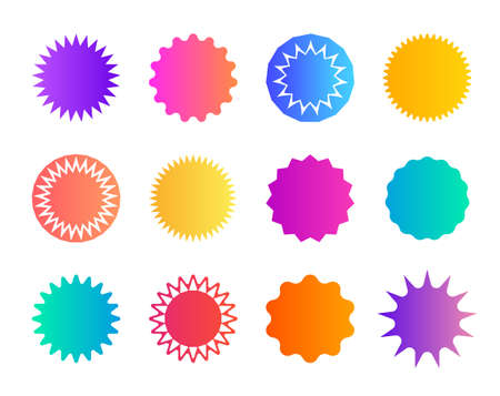 Illustration pour Price sticker. Promo badge starburst. Shape of star for callout, label. Round icons for sale. Circles for button, tag. Zigzag edge on promotion banner. Gradient color coupon. Speech balloons. Vector. - image libre de droit
