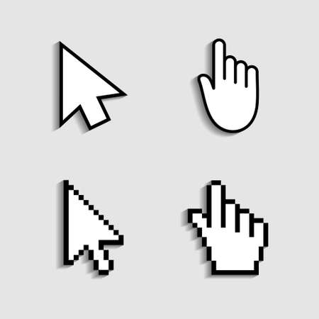 Illustration pour Cursor and hand icon from pixels. Pointer mouse for click. Arrow, finger for web, computer and internet navigation. Digital graphic symbol for link of www. Sign for button on screen of website. Vector - image libre de droit