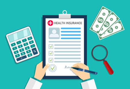 Illustration pour Health insurance. Medical insurer with form of healthcare. Doctor in hospital with money and calculator. Cost and bill on insurance for patient. Medicine checklist in document. Icon of clinic. Vector. - image libre de droit