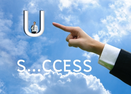Photo for Business man concept hand success word - Royalty Free Image