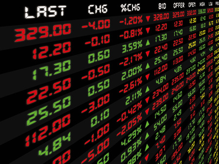 Photo pour A display of daily stock market price and quotation - image libre de droit