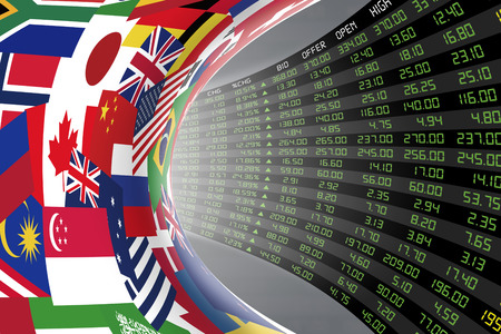 Photo pour Flags of main countries in the world with a large display of daily stock market price and quotations during economic booming period. The fate and mystery of world stock market, tunnel/corridor concept - image libre de droit