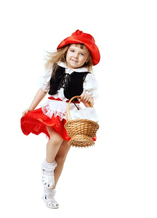 Little Red Riding Hood child costume run with basket isolated
