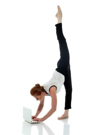 Busy entrepreneur doing yoga, isolated on white background