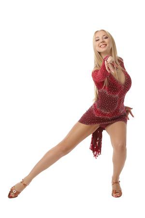 Graceful female performer of ballroom dancing, isolated on white