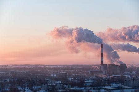 Photo pour Image of beautiful industrial cityscape during sunrise - image libre de droit