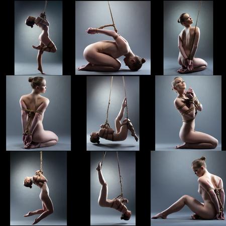 Foto de Shibari. Collage of naked girl tied with rope, on gray background - Imagen libre de derechos