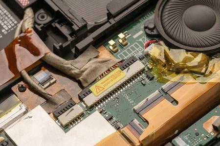 Hardware. Image of laptop motherboard, close up