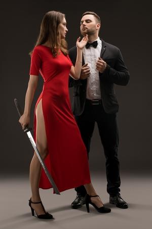 Foto de Beautiful smartly dressed couple shot - Imagen libre de derechos