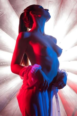 Foto de Girl in the nude against bright background - Imagen libre de derechos