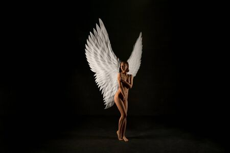 Photo for Nude woman with gorgeous wings view in the dark - Royalty Free Image