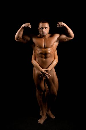 Photo for Naked muscular man full-length shot - Royalty Free Image