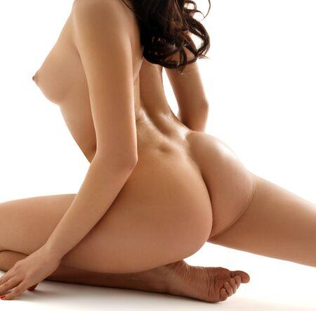Foto de Beautiful brunette in splits nude profile portrait - Imagen libre de derechos